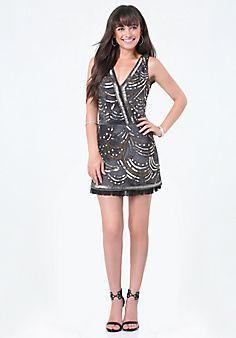 Beaded+Ruffle+Hem+Dress