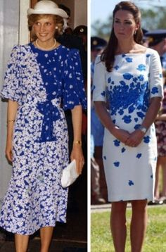 Blue and White on Princess Diana and on Duchess Kate