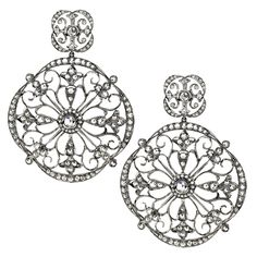 Katerina Maxine Diamond Goth Disc Earrings. These are interesting with both rose cut and regular diamonds set in the earrings.