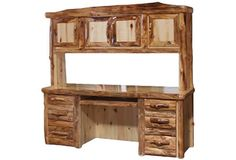 Desk and Hutch in Log Front (72″W)