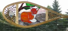 Red Fox Stained Glass Snowshoe by StonehouseGlassworks on Etsy, $240.00