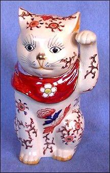 Vintage glazed ceramic Maneki Neko
