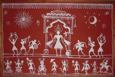 Original Selection: Warli folk paintings done on natural red ochre on village hut walls with rice paste. This rudimentary and tribal style of folk art is predominant in the Maharashtrian region. Landscape Painting Artists, Worli Painting, Madhubani Art, Madhubani Painting, Arte Tribal, Tribal Art, Tribal Style, Modern Art Paintings, Indian Paintings