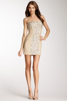 Beaded & Ruched Strapless Dress on HauteLook