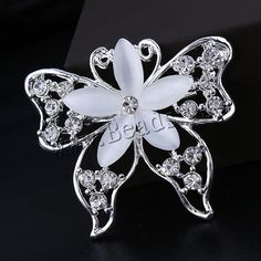 #Cats #Eye #Brooch, Zinc Alloy, with #Cats #Eye, Butterfly and Flower, http://www.beads.us/product/Cats-Eye-Brooch_p211588.html?Utm_rid=194581