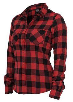 Urban Classics Ladies Hemd Checked Flanell Shirt, TB388 schwarz/rot Urban Classics Ladies Hemden | 77Store im Online Shop preiswert kaufen