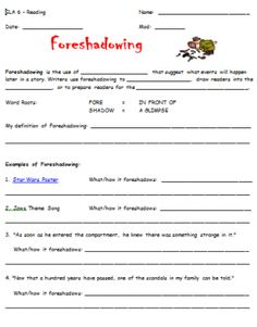 Defining & Identifying Foreshadowing | Worksheets and Simple