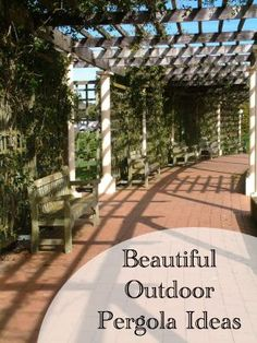 Would be neat to use a pergola as a support for trellising vegetables like runner beans and peas. Outdoor Pergola, Outdoor Rooms, Outdoor Fun, Outdoor Gardens, Outdoor Living, Pergola Ideas, Pergola Kits, Pergola Lighting, Cheap Pergola