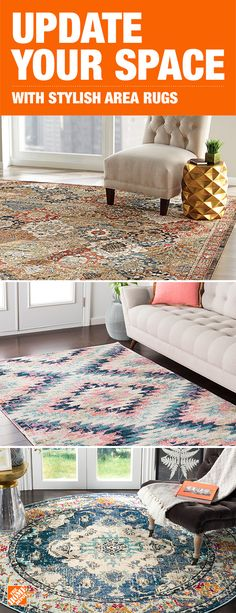 395 best Flooring  Carpet   Rugs images on Pinterest in 2018 A stylish  colorful area rug helps create a more intimate space  An easy way