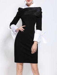 Shop Midi Dresses - Black Girly Shirt Collar Sheath Midi Dress online. Discover unique designers fashion at StyleWe.com.