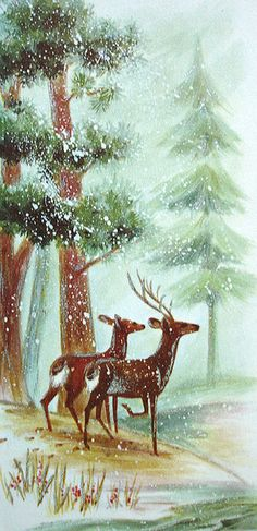Old Christmas Post Сards — Vintage, early Vintage Christmas Images, Old Fashioned Christmas, Christmas Scenes, Christmas Deer, Retro Christmas, Vintage Holiday, Christmas Pictures, Christmas Greetings, Winter Christmas