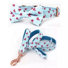 summer flamingo dog collar and leash set with bow tie for big and small dog cotton fabric collar rose gold metal buckle Cute Dog Collars, Dog Collars & Leashes, Dog Leash, Bow Tie Collar, Collar And Leash, Cowboy Corgi, Cute Dog Harness, Bowtie Pattern, Designer Dog Collars