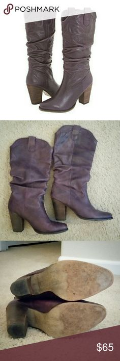 Steve Madden - Gesar Western Boots Authentic. Excellent condition. No box. I only wore them a couple times before realizing I'm not much of a western boot girl. Purple leather with 3.5 inch stacked heel. Durable faux wood sole. Super comfortable. Steve Madden Shoes Heeled Boots