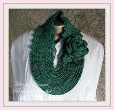 * Pérolas do Crochet: Gola em croche com rosa broche com pap - super fácil