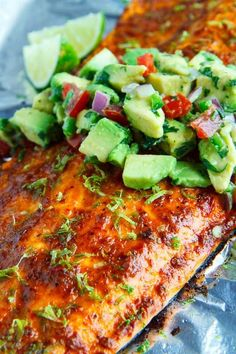 Chipotle Lime Salmon with Avocado Salsa -Serve with roasted sweet potato chunks (season with chipotle/paprika flavors) and broccoli Lime Salmon Recipes, Fish Recipes, Meat Recipes, Seafood Recipes, Mexican Food Recipes, Food Processor Recipes, Cooking Recipes, Healthy Recipes, Gastronomia