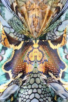 Detail: Alexander McQueen 'Plato's Atlantis' collection snakeskin printed organza dress, Spring-Summer 2010