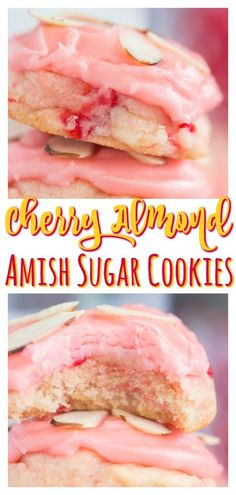 Cherry Almond Amish Sugar Cookies - Easy Food Soft, puffy, melt-in-your-mouth sugar cookies, infused with touches of cherry and almond, and topped with a thick cherry-almond icing! Cake Mix Cookie Recipes, Chocolate Cookie Recipes, Best Cookie Recipes, Yummy Cookies, Chocolate Chips, Vanilla Cookies, Almond Cookies, Brownie Cookies, Cherry Cookie Recipes