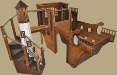 PlayhouseDesigns.com - see the plans you can buy to build your child an awesome bunk bed/playhouse!