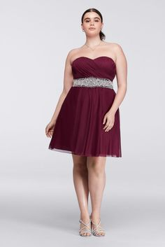 Plus Size Short Homecoming Dress with Beaded Waist - Wine (Red), 19