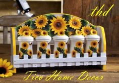 sunflower decor for kitchen Sunflower Themed Kitchen, Sunflower Kitchen Decor, Sunflower Bathroom, Sunflower Decorations, Sunflower Art, Sunflower Design, Spice Rack Mounted, Spice Holder, Craft Ideas