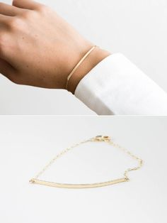 Long Line Bar Bracelet in Gold Fill, Rose Gold or Sterling Silver. Subtle statement bar bracelet in smooth or hand-hammered finish. The modern Long Line Bar adds the perfect minimal touch to your #ootd :) Best results if worn daily. …………………………………. The Long Line Bar Bracelet •