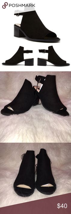 """Forever 21 Faux Suede Slingback Booties NWOT. Will come with the box. Only tried on. Will not model so please don't ask. Faux suede slingback booties. Open toe. Chunky heel. Buckled ankle strap. Cutout back. Padded insole and textured outsole. Upper lining and insole: 100% polyester. Outsole: 100% olefin. Approx heel height is 1.78"""", shaft height is approx 3"""" and platform is approx 0.25"""". Stock photos from Forever 21. ❌NO TRADES❌ Forever 21 Shoes Ankle Boots & Booties"""