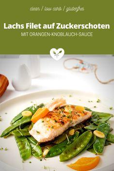 Lachs Filet mit Orangen-Knoblauch-Sauce auf Zuckerschoten Low Carb Meal, Salmon Burgers, Food Styling, Food Photography, Orange, Ethnic Recipes, Fish Dishes, Glutenfree, Healthy Recipes