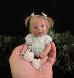 """RAEGAN"" mini 6"" polymer clay art baby doll sculpt OOAK by URSULA"
