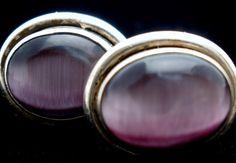 Sterling Silver Purple Cats Eye Post Estate Oval Earrings Vintage | eBay