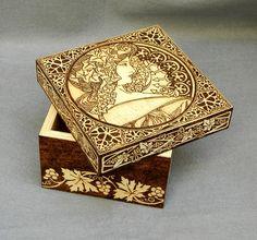 Woodburned Art Nouveau wooden keepsake box by YANKA-arts-n-crafts.deviantart.com on @DeviantArt
