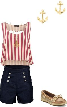 """nautical sailor outfit"" by watergirl874 ❤ liked on Polyvore"
