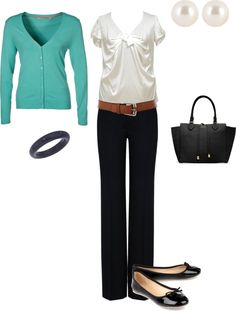 b and colored cardigan...be good for casual business attire!
