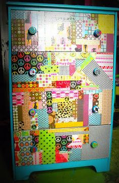 Modge Podge Dresser...I could do this with the old one in the kids room! Fabric or scrapbook paper???