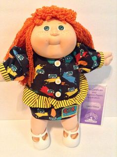 """ORANGE GINGHAM CHECK+STRIPED CALICO DRESS+PANTY for 16-18/"""" CPK Cabbage Patch Kid"""