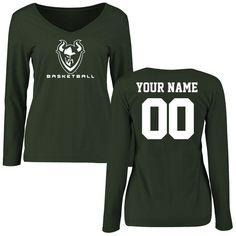 Portland State Vikings Women's Personalized Basketball Slim Fit Long Sleeve T-Shirt - Green