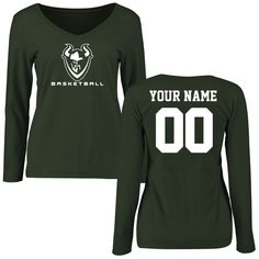 Portland State Vikings Women's Personalized Basketball Slim Fit Long Sleeve T-Shirt - Green