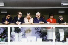 Prince Rainier III of Monaco with children Prince Albert, Princess Stephanie, Princess Caroline and her son Andrea at the Monaco Formula One Grand Prix on May 27, 1990 in Monte Carlo, Monaco.