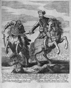 Báry Péter, Hungarian Hussar, decapitates an Ottoman, century. Antique Illustration, Medieval Clothing, African History, Antique Prints, 17th Century, Ottoman Empire, Dracula, Knights, Costume