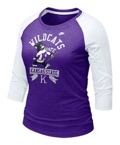 Kansas State Wildcats Women's Purple Nike 3/4 Raglan Sleeve Vault Logo T-Shirt