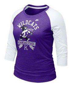 Kansas State Wildcats Women's Purple Nike 3/4 Raglan Sleeve Vault Logo T-Shirt