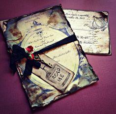 Vintage lookin invitations - Alice in WOnderland wedding invite