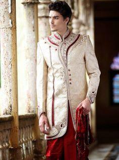 Maroon and cream wedding sherwani, men's sherwani, patiala pants