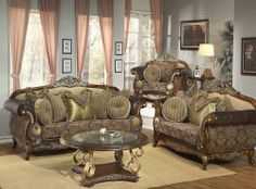 Formal Luxury Sofa Love Seat U0026 Chair 3 Piece Antique Living Room Set HD 26  (KD)