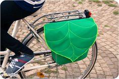 Green Leaf Bike Pannier, Waterproof Bicycle Pannier, Messenger bag, Bike accessory Convertible - Made To Order !