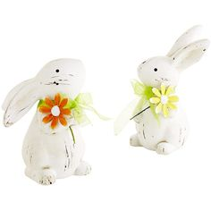 Pier 1 Imports Ivory Mini Ceramic Bunny Set (41 RON) ❤ liked on Polyvore featuring home, home decor, holiday decorations, ivory, easter home decor, rabbit home decor, pier 1 imports, bunny home decor and ceramic home decor
