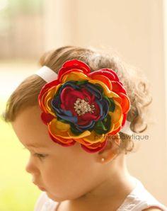 The Rainbow Brite  Bright Rainbow Flower by PeekABowtiquePlace, $18.50