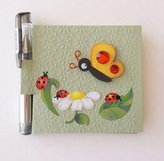 Post It Note Holder & Pen Set, Butterfly Ladybug Flowers Design, Sticky Notes Holder, Mini Notebook and Pen Set