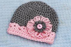 Recién nacido niña flor del ganchillo sombrero por ZMBoutique