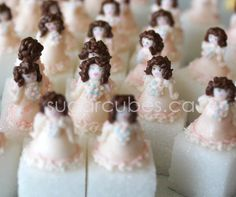 Victorian doll sugar cubes created for one sweet birthday party.