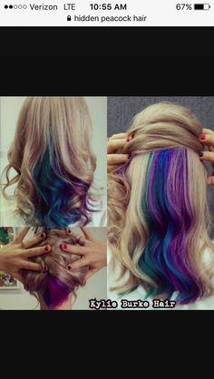 Waaaaay too old for this look.but dang.its pretty Hidden Hair Color, Cool Hair Color, Underlights Hair, Hair Dye Colors, Tips Belleza, Mermaid Hair, Crazy Hair, Love Hair, Purple Hair